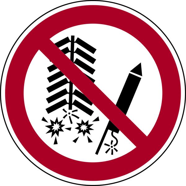 Verbotszeichen, Feuerwerkskörper verboten P040 - ASR A1.3 (DIN EN ISO 7010)