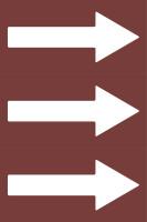Fließrichtungspfeile gemäß DIN 2403, braun/weiß