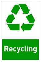Design-Recyclingschild: Recycling, Folie selbstklebend, 150 x 100 mm
