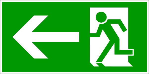Rettungszeichen, Notausgang links - DIN 4844