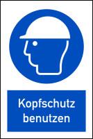 Gebotsschild, Kombischild, Kopfschutz benutzen - DIN EN ISO 7010