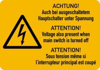 Warnschild, Hauptschalter unter Spannung (3-sprachig), Folie